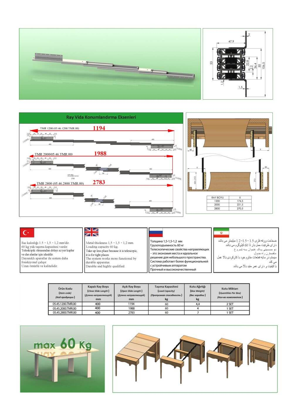 TELESCOPIC TABLE SLIDES