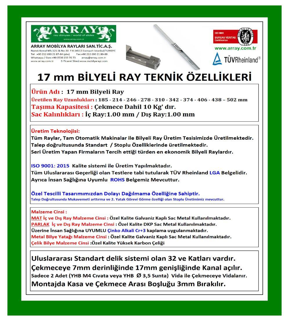17 MM BİLYELİ RAYLAR