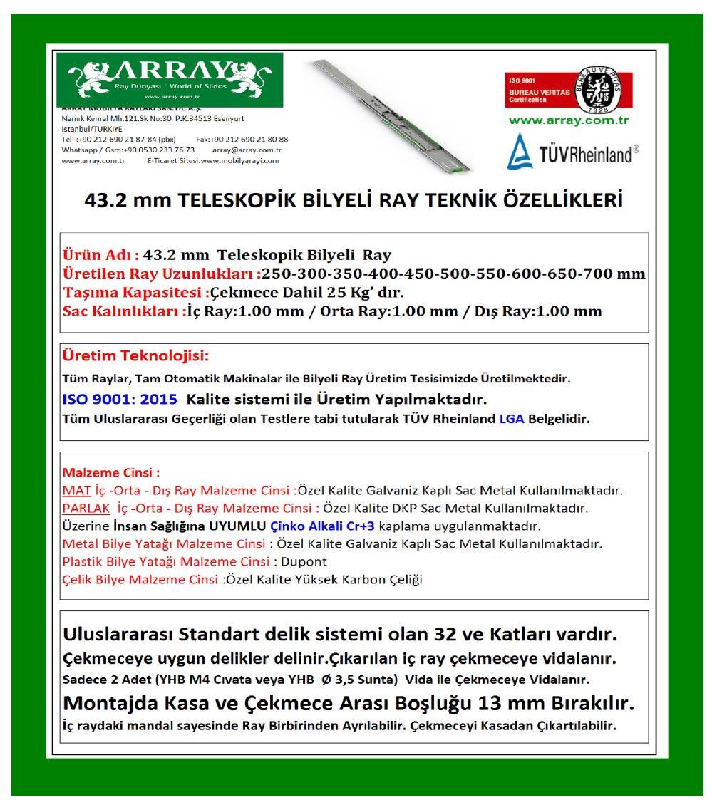 43,2 MM TELESKOPİK RAY